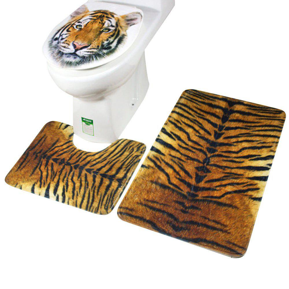 Toilet Seat Cover Bathroom Non-Slip Blue Ocean Style Pedestal Rug Lid Toilet Cover Bath Mat - multicolorCOLOR
