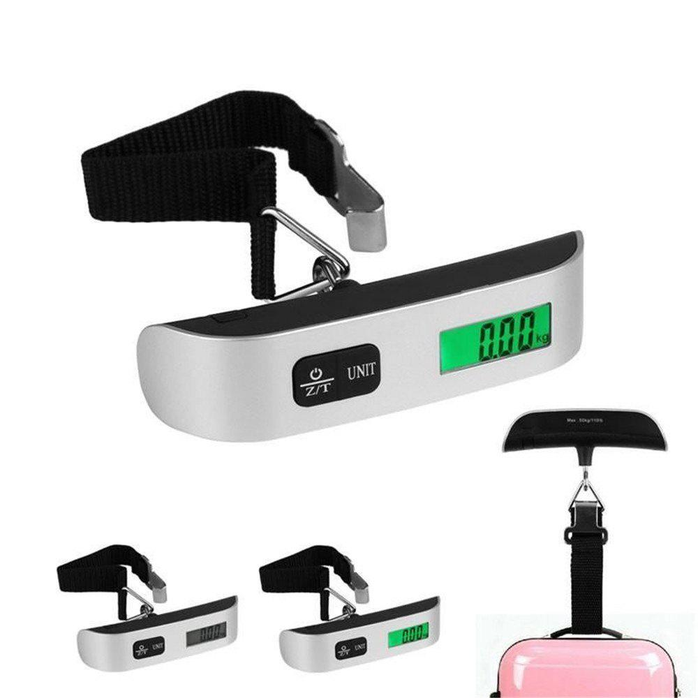 Portable Digital Luggage 50kg Capacity  Hand Held Green Backlight LCD Electronic Scale - SILVER/BLACK