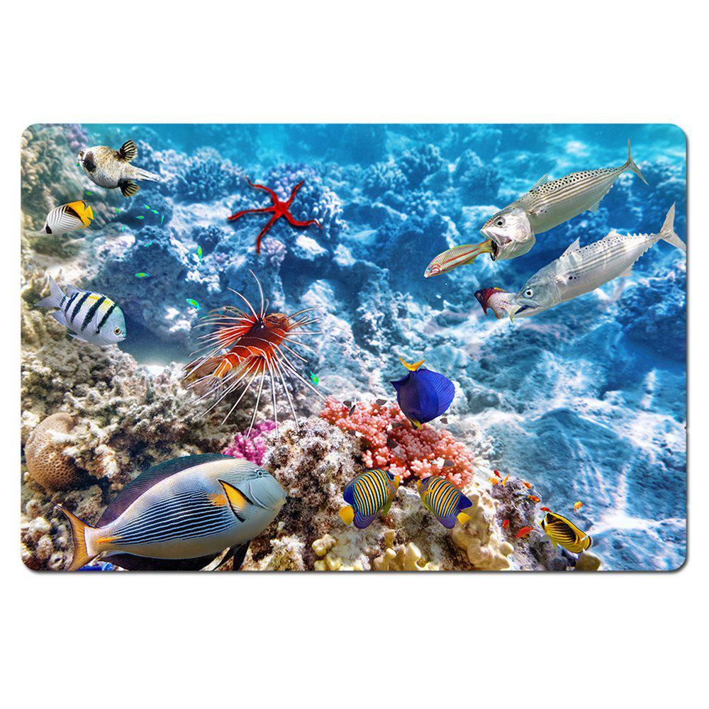 Welcome Carpet 3 D Only Beautiful Underwater World Entrance Floor Funny Indoor Outdoor Doormat - WINDSOR BLUE