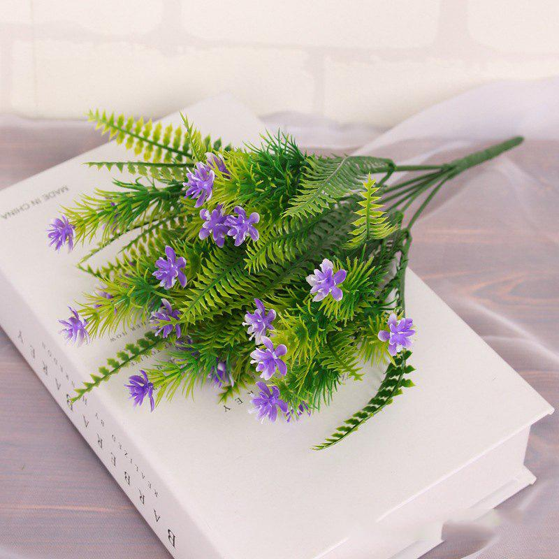 4 Pcs Green Grass Plants Artificial Flower Babysbreath Simulation Flower Wedding Decoration for Home Party Office - PURPLE