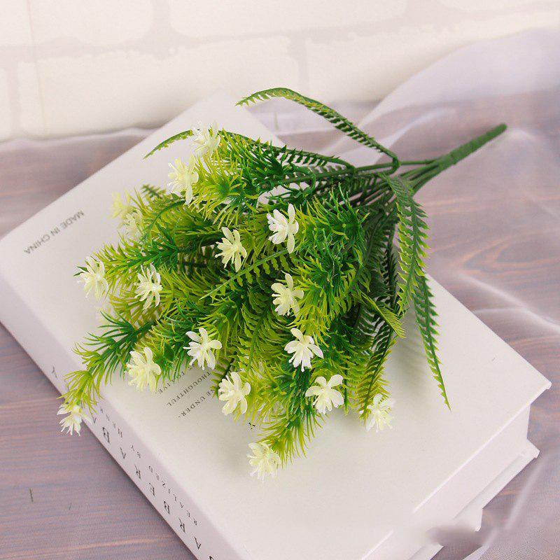 4 Pcs Green Grass Plants Artificial Flower Babysbreath Simulation Flower Wedding Decoration for Home Party Office - WHITE