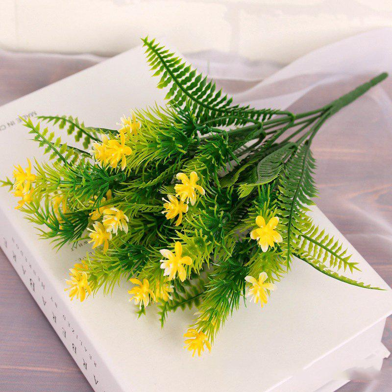 4 Pcs Green Grass Plants Artificial Flower Babysbreath Simulation Flower Wedding Decoration for Home Party Office - YELLOW