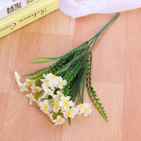 4 PCS Artificial Green Plants Grass Fake Floral Plastic Flowers For Office Hotel Home Wedding Table Decoration - WHITE