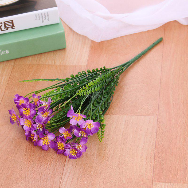 4 PCS Artificial Green Plants Grass Fake Floral Plastic Flowers For Office Hotel Home Wedding Table Decoration - PURPLE