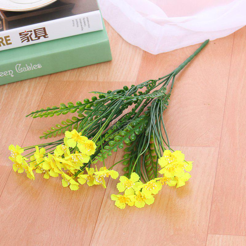 4 PCS Artificial Green Plants Grass Fake Floral Plastic Flowers For Office Hotel Home Wedding Table Decoration - YELLOW