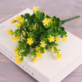 4 PCS Artificial Green Plants Grass Fake Floral Plastic Flowers For Office Home Wedding Table Decoration - YELLOW YELLOW