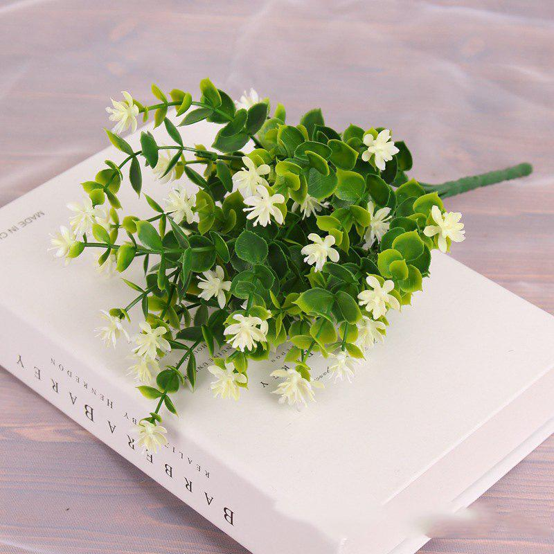 4 PCS Artificial Green Plants Grass Fake Floral Plastic Flowers For Office Home Wedding Table Decoration - WHITE