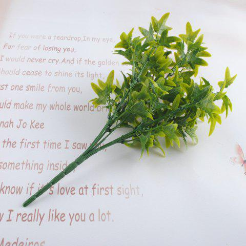 5 Pcs Artificial Leaves Branches Simulation Plant Bouquet Plastic Home Decoration Green Fake Grass - GREEN
