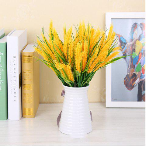 4 Pcs Natural Dried Flowers Decorative Wheat Bouquet Artificial Flower Branches For Wedding Home Decoration - YELLOW