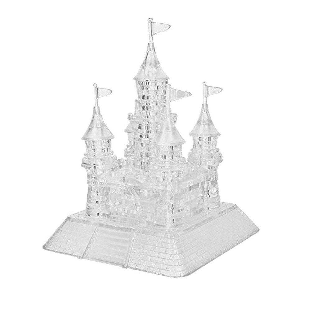 Children Puzzle Toy Crystal Castle Building Block with Light Music - TRANSPARENT