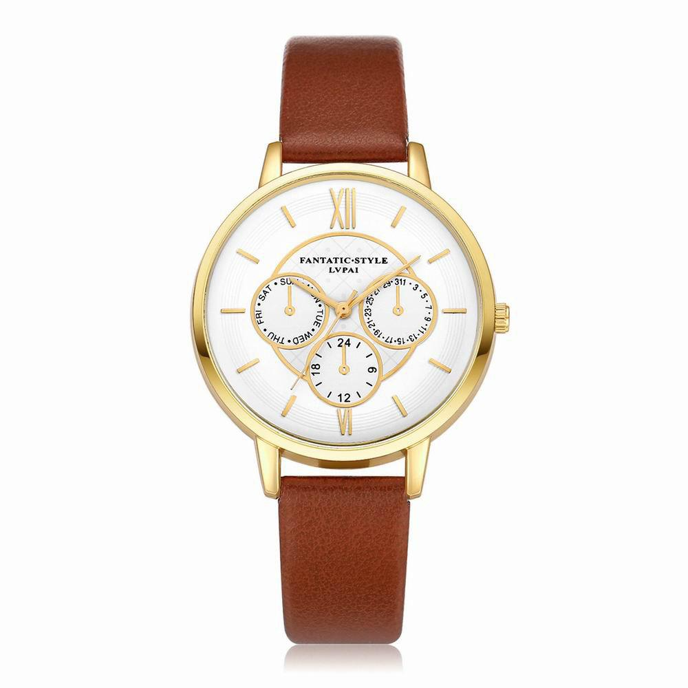 Lvpai P090-G Women Fashion Leather Band Quartz Watches - COFFEE