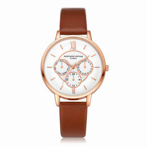 Lvpai P090-R Women Fashion Leather Band Quartz Watches - COFFEE