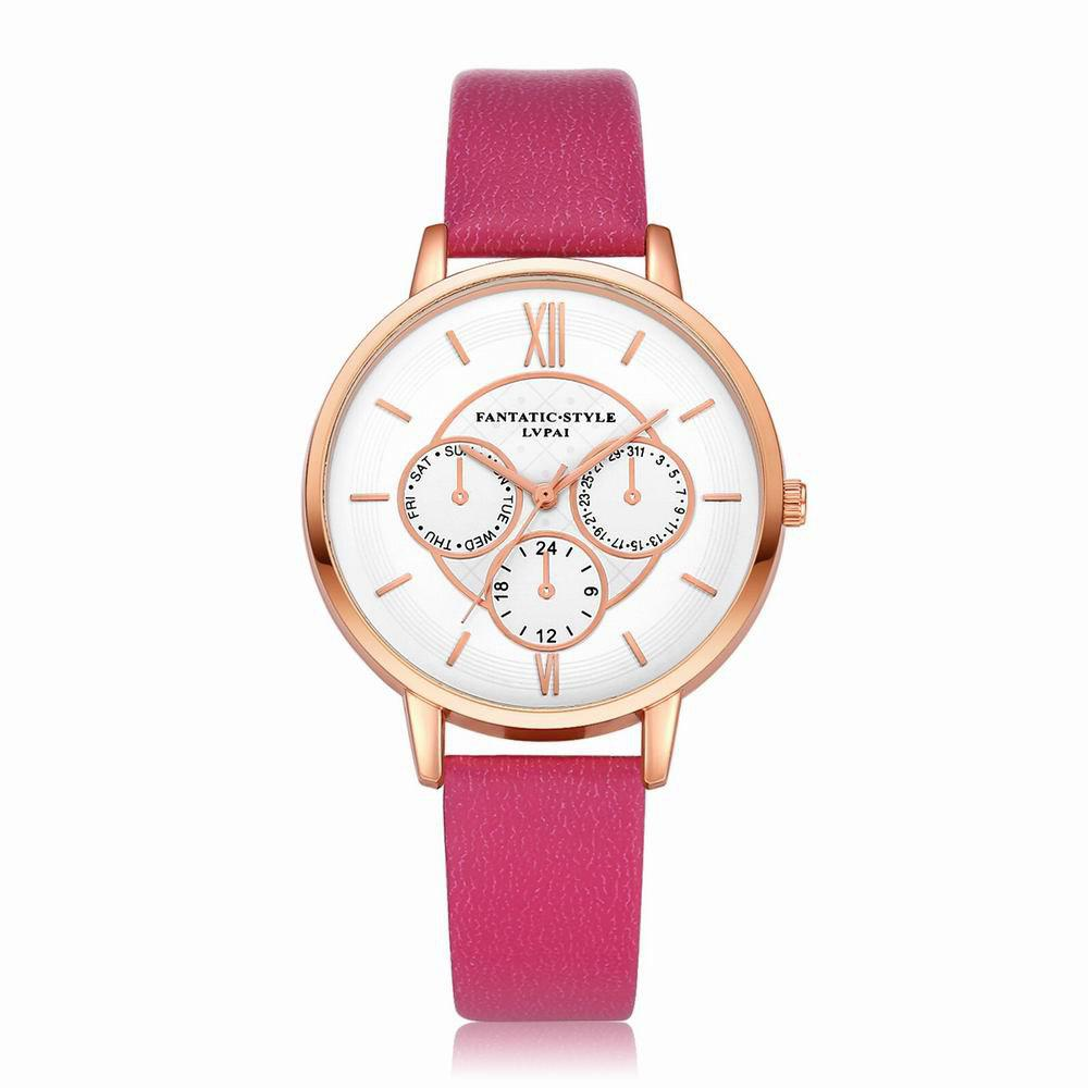 Lvpai P090-R Women Fashion Leather Band Quartz Watches - ROSE RED