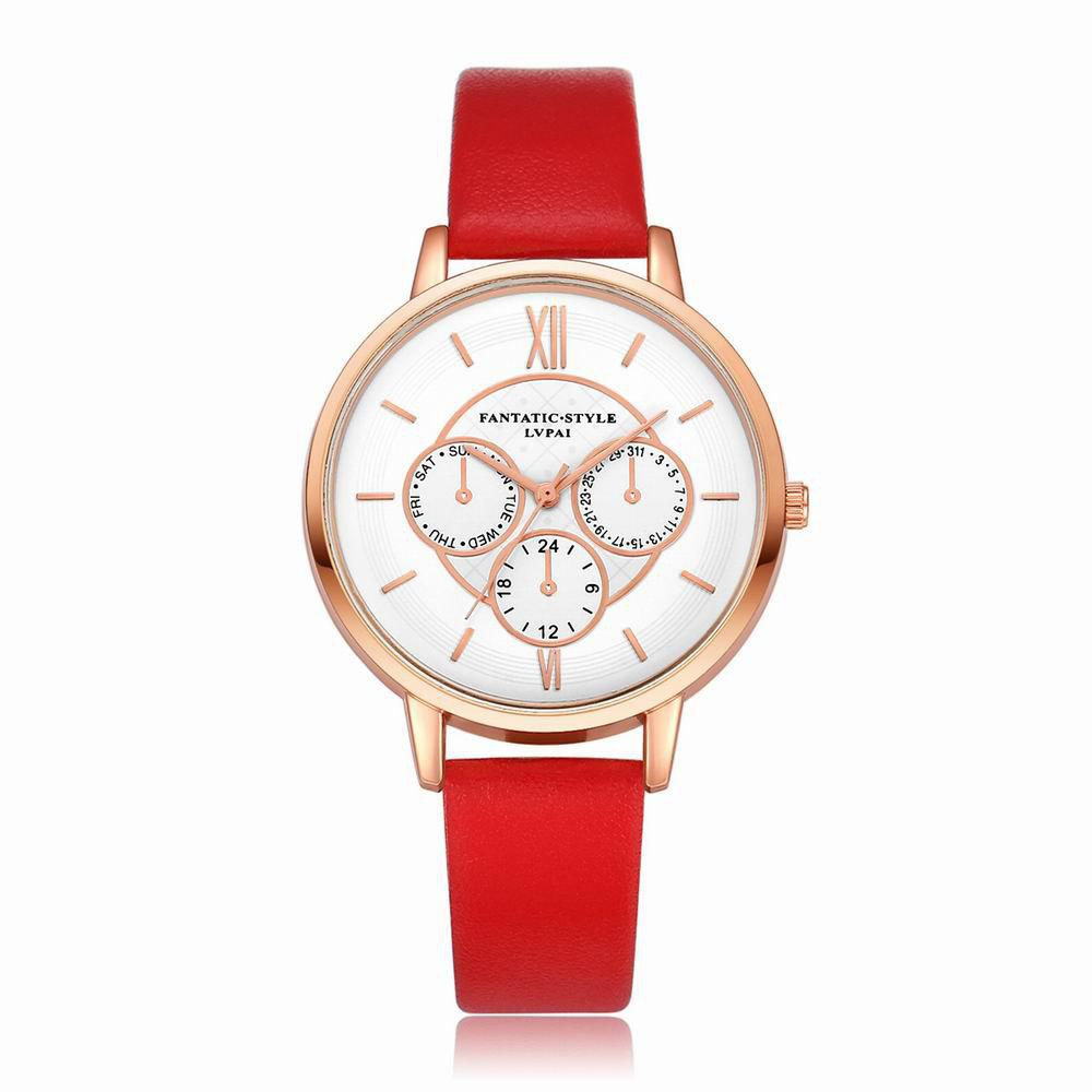 Lvpai P090-R Women Fashion Leather Band Quartz Watches - RED