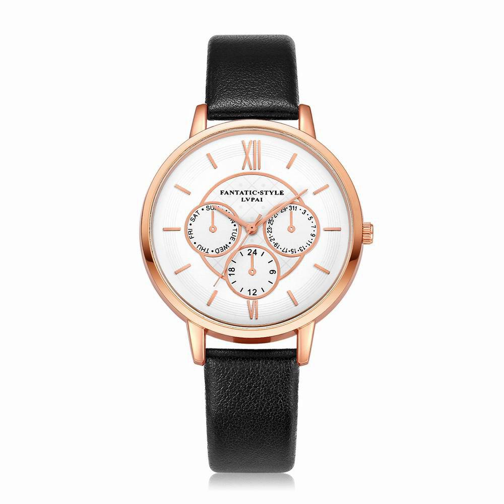 Lvpai P090-R Women Fashion Leather Band Quartz Watches - BLACK