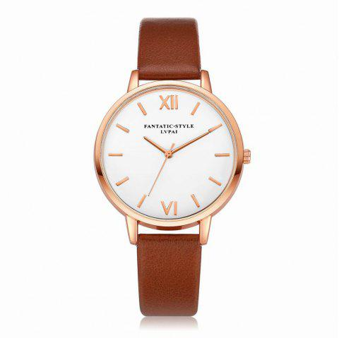 Lvpai P091-R Women Simple Leather Strap Quartz Watches - COFFEE