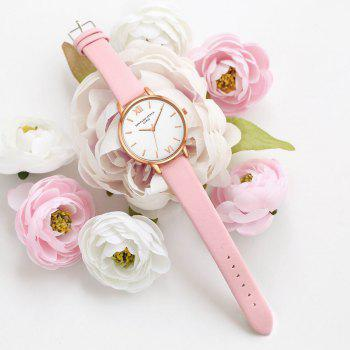 Lvpai P091-R Women Simple Leather Strap Quartz Watches - PINK