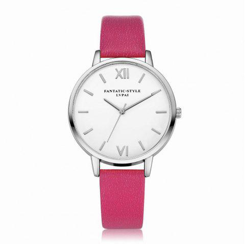Lvpai P091-S Women Simple Leather Strap Quartz Watches - ROSE RED