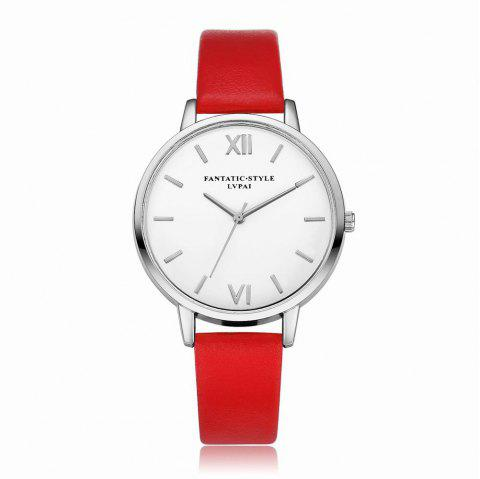Lvpai P091-S Women Simple Leather Strap Quartz Watches - RED