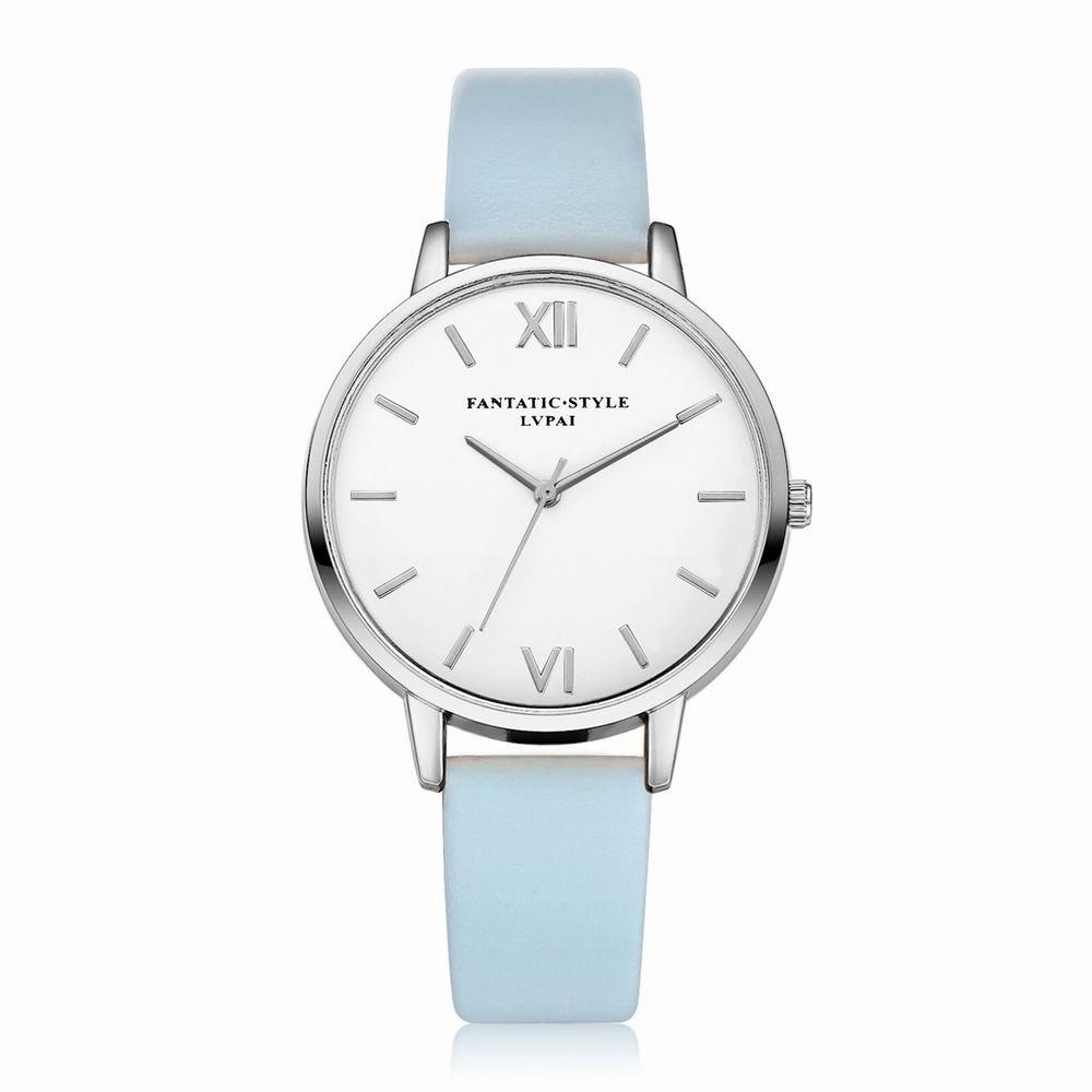 Lvpai P091-S Women Simple Leather Strap Quartz Watches - SKY BLUE
