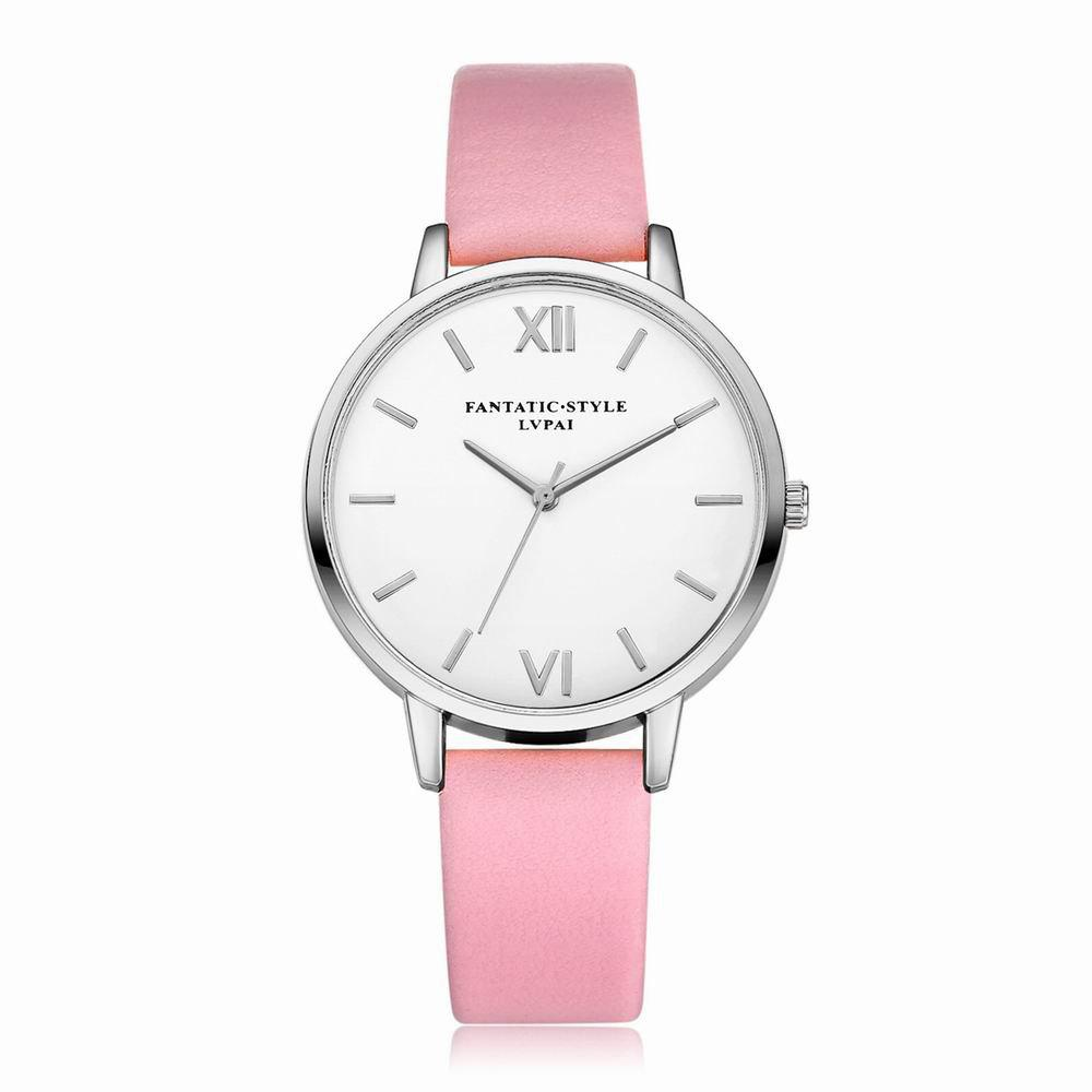 Lvpai P091-S Women Simple Leather Strap Quartz Watches - PINK