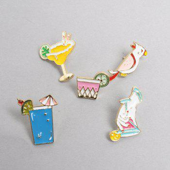 Summer Cartoon Brooch Parrot Animals Birds Drink Clothing Pin Badge Button  Metal Fashion Bag Backpack for Girls - BLUE