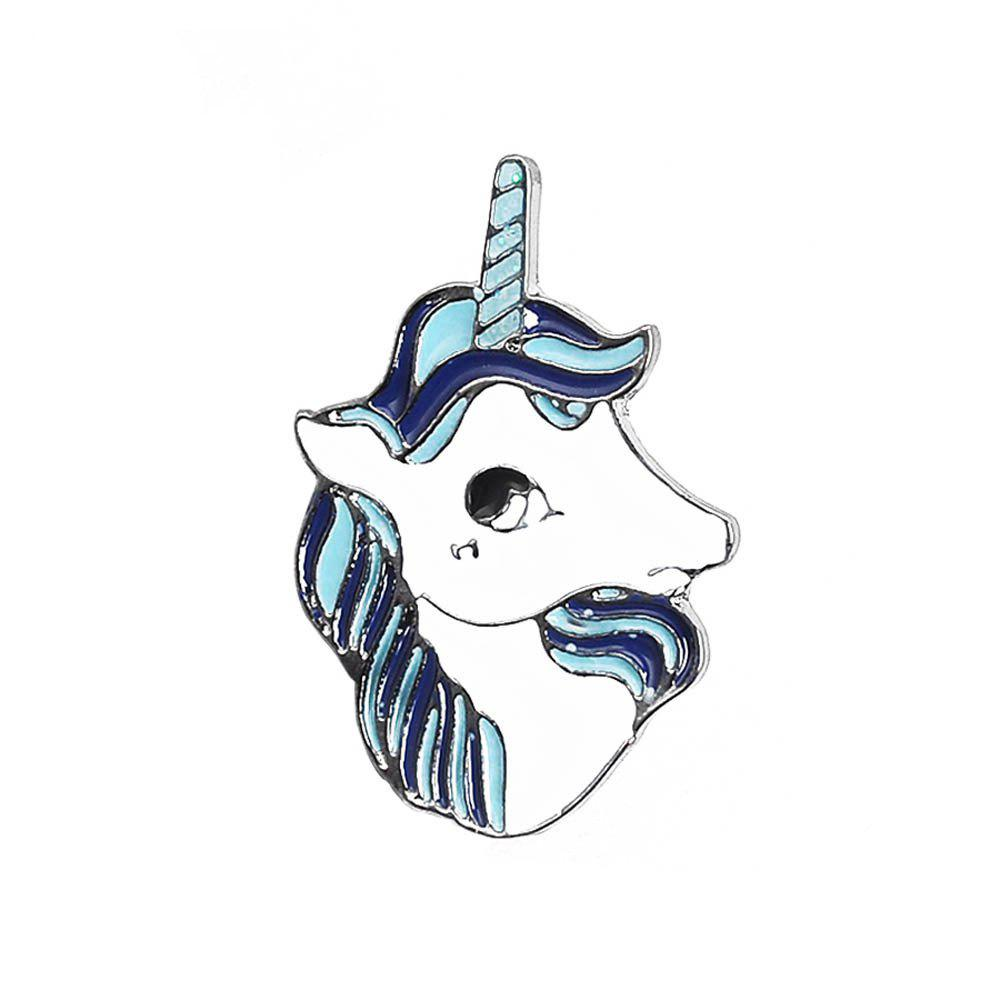 Unicorn Friends Brooch Pins Button Gift Bag for  Jacket Coat Hat  Badge Gift Fashion Jewelry Animal Cartoon - WHITE