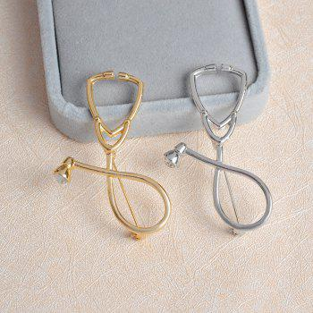 Stethoscope Medical Gold Silver Crystal Brooch Nurse Corsage Nurse Medical Doctors Student Graduation Gift - GOLDEN
