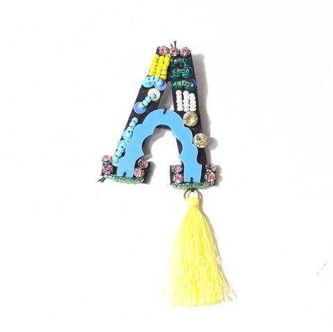 Handmade  A Letter with Tassel Brooch Clothes Party Jewelry Gift Women - BLUE