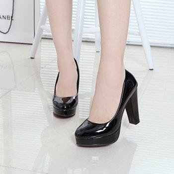 Thick And Round Head Single Shoes - BLACK 40