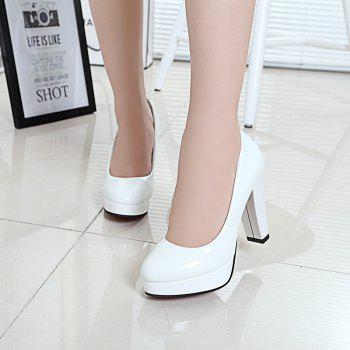Thick And Round Head Single Shoes - WHITE 39