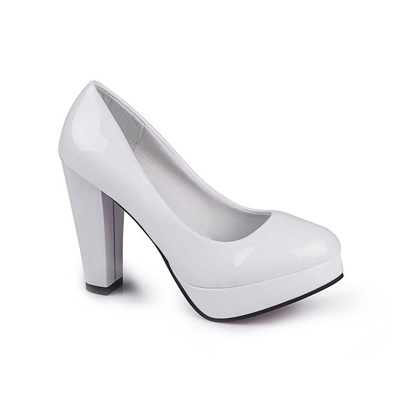 Thick And Round Head Single Shoes - WHITE 38