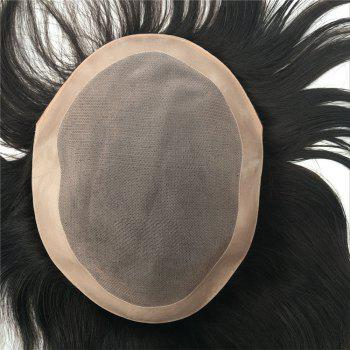 European Virgin Human Hair Toupee for Men with Soft Thin Super Swiss Lace 8 inch - BLACK 6INCH