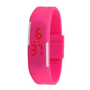 V5 New Fashion Candy Color LED Electronic Watch - ROSE RED