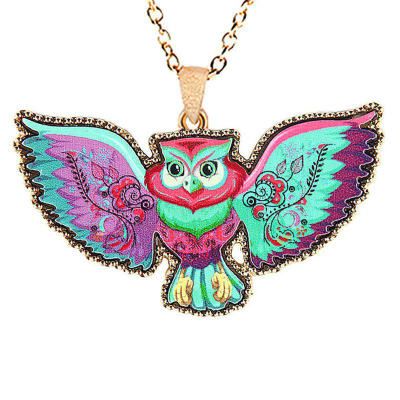 Fashion Jewelry New Unique Style Attractive Multicolour Romantic Painting Cartoon Animal Owl Necklaces For Women cartoon airplane style red