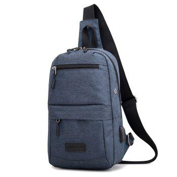 Breast Canvas Messenger Bag Shoulder Bag - BLUE