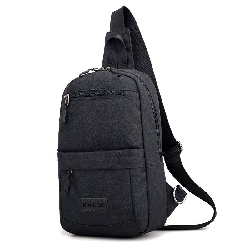 Breast Canvas Messenger Bag Shoulder Bag - BLACK