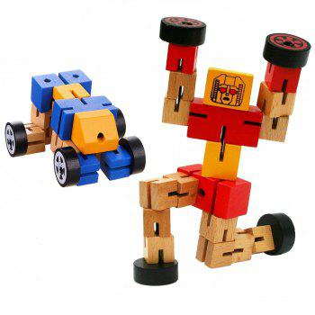Wooden Transformable Robots Funny and Creative Educational Toys for Girls and Boys Kids Brain Teaser Puzzle - BLUE BLUE