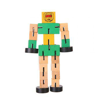 Wooden Transformable Robots Funny and Creative Educational Toys for Girls and Boys Kids Brain Teaser Puzzle - GREEN GREEN