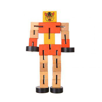 Wooden Transformable Robots Funny and Creative Educational Toys for Girls and Boys Kids Brain Teaser Puzzle - ORANGE ORANGE