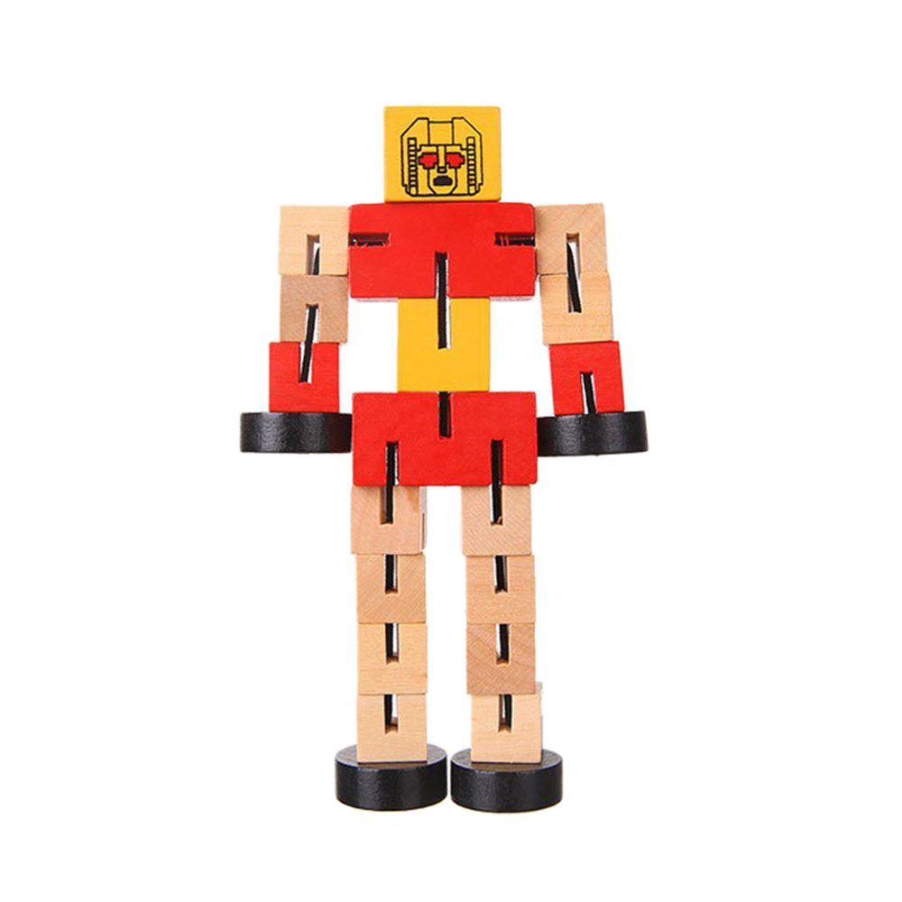 Wooden Transformable Robots Funny and Creative Educational Toys for Girls and Boys Kids Brain Teaser Puzzle - RED