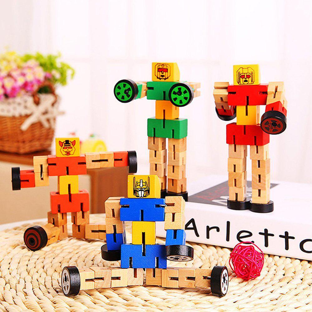Wooden Transformable Robots Funny and Creative Educational Toys for Girls and Boys Kids Brain Teaser Puzzle - GREEN