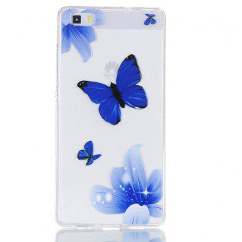 for Huawei P8 Lite Butterfly Painted Soft Clear TPU Phone Casing Mobile Smartphone Cover Shell Case - BLUE