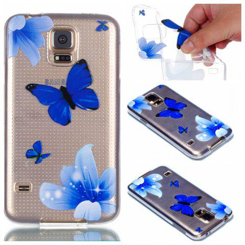 for Samsung S5 Butterfly Painted Soft Clear TPU Phone Casing Mobile Smartphone Cover Shell Case - BLUE