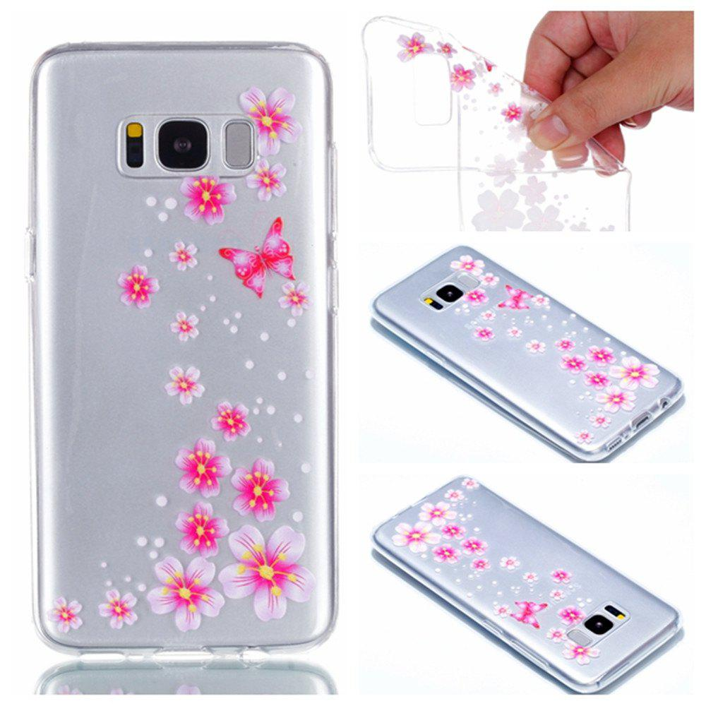 for Samsung S8 Plus Flower and Butterfly Painted Soft Clear TPU Mobile Smartphone Cover Shell Case - COLOUR