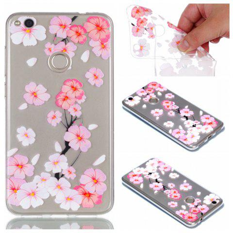 for Huawei P8 Lite 2017 Peach Flower Painted Soft Clear TPU Mobile Smartphone Cover Shell Case - COLOUR