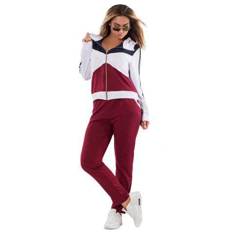 Daifansen Autumn Winter Splicing and Leisure Big Code Sports Suit - WINE RED 5XL