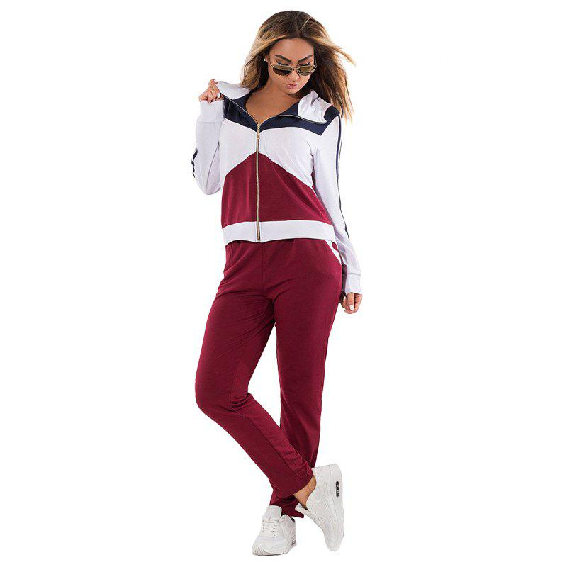 Daifansen Autumn Winter Splicing and Leisure Big Code Sports Suit - WINE RED 2XL