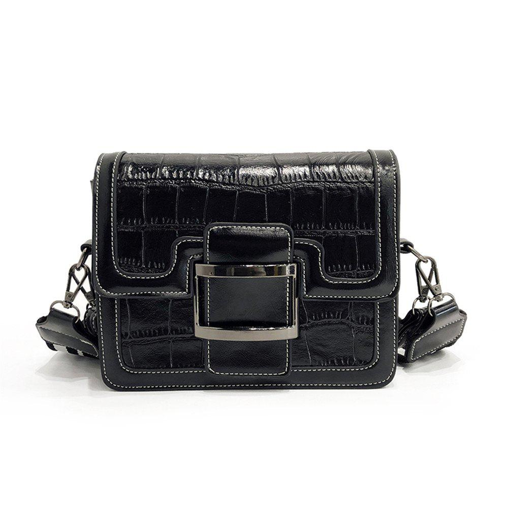 Small Fashion Crocodile Pattern Square Handbag Shoulder Messenger Bag - BLACK
