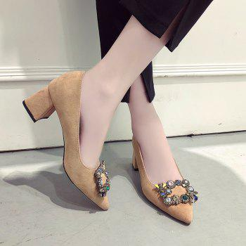 Trendy Buckled Water Drill Pointed Female High Heel Shoes - KHAKI 39